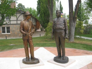 Dr. Oppenheimer with Gen. Groves as statues by Fuller Lodge in Los Alamos, New Mexico USA