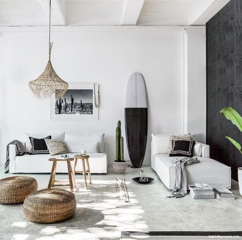 To showcase pieces from her Indie Home Collective stores, stylist Claudia Kozub created this Scandi/Bali style setting. She lightly painted the timber feature wall in Resene Nero, allowing the grain to show through, and painted the rest of the room in Resene Alabaster.