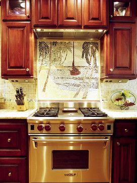 Kitchen With Tropical Mosaic Backsplash By Alicia Friedmann Interior Design
