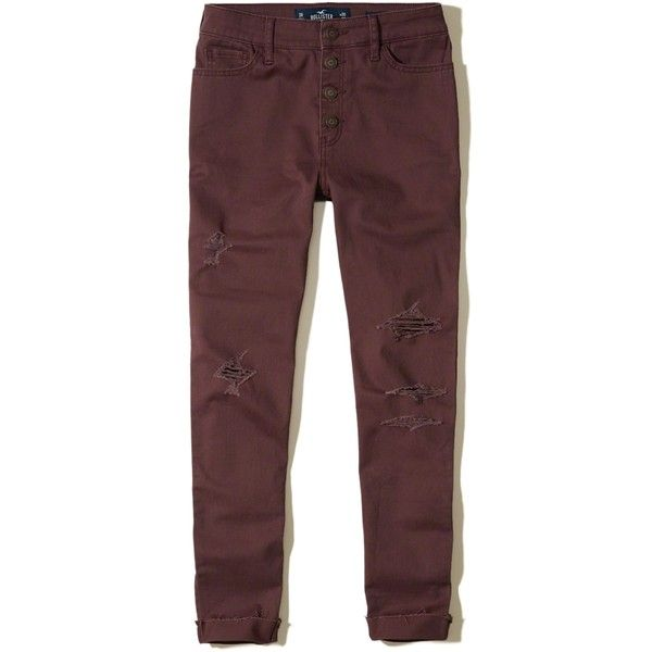 Hollister High-Rise Crop Super Skinny Pants ($45) ❤ liked on Polyvore featuring pants, capris, ripped burgundy, high-waisted pants, high-waisted trousers, burgundy pants, high waisted skinny trousers and skinny pants