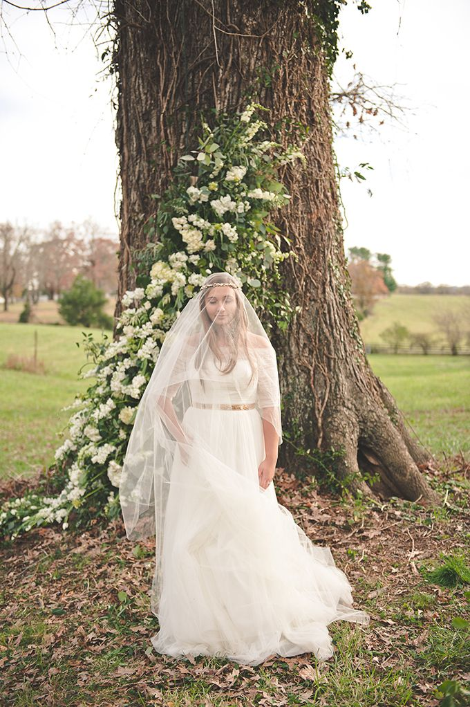 Floral Garland for a Natural Ceremony Backdrop | Bit of Ivory Photography | Glamour & Grace