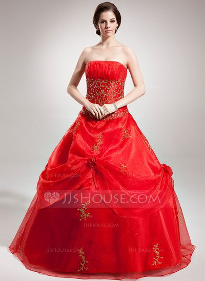 [US$ 194.99] Ball-Gown Strapless Floor-Length Organza Quinceanera Dress With Embroidered Beading Sequins (021016379)