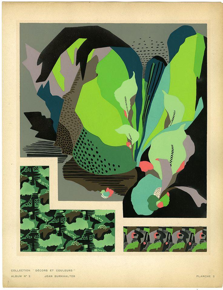 design-is-fine:  Pochoir Prints, design for textile or wallpapers, 1920s. Schweitzer, Burkhalter,FIT NY