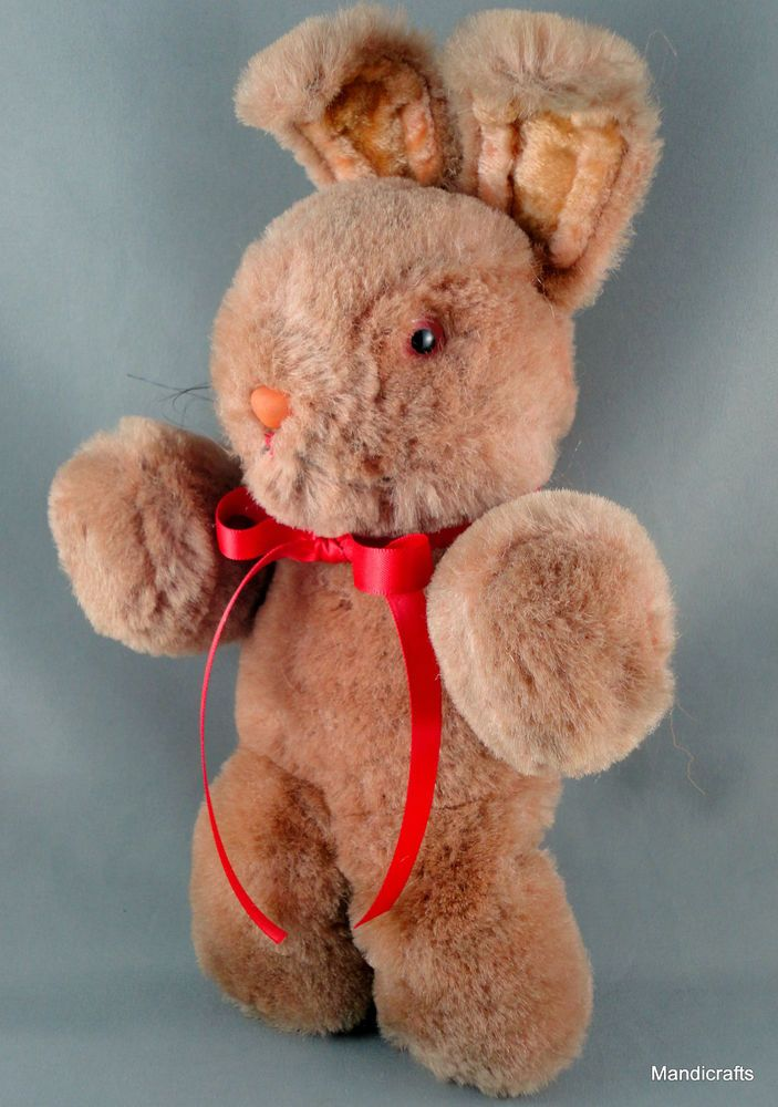 Shanghai Doll Factory Bunny Rabbit Wool Mohair Plush 1950s 60s Pink Glass Eyes Vintage