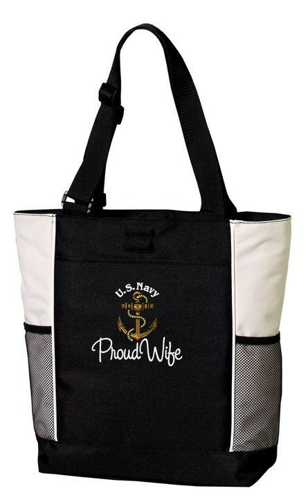 Proud US Navy Wife Wife Custom Embroidered Tote by TinasEmbroidery