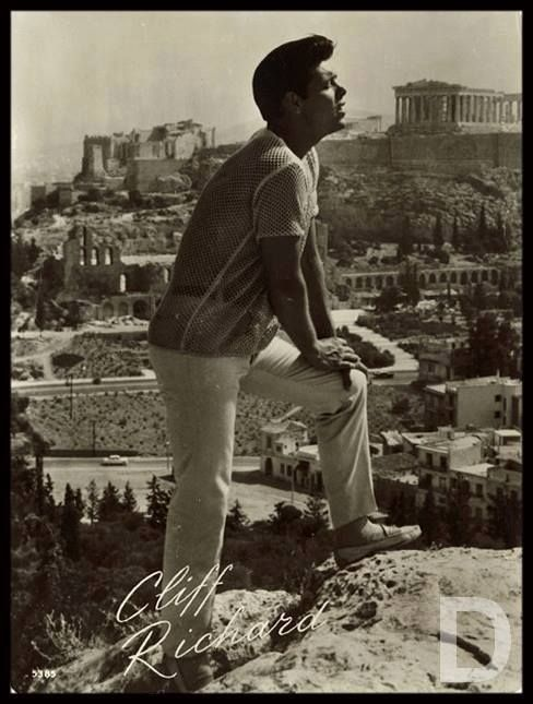 "Cliff Richard in Athens, during the filming of ""Summer Holiday"" in 1962"