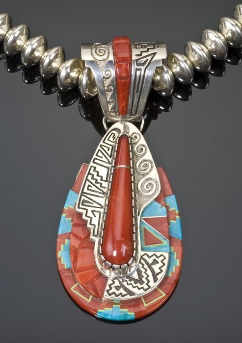 Navajo Abraham Begay coral and turquoise sterling silver necklace