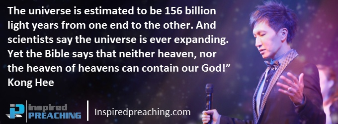 In this clip, Dr Kong Hee powerfully illustrates the greatness and magnitude of our awesome God. And even then, there aren't words sufficient to explain it! http://inspiredpreaching.com/how-big-is-god-kong-hee/
