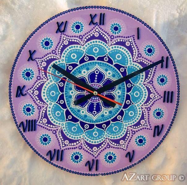 Periwinkle wooden mandala clock from AZart_Group by DaWanda.com