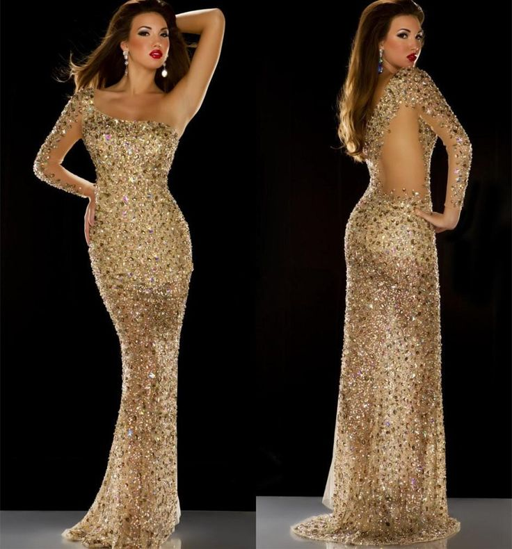 Find More Evening Dresses Information about 2015 Style One Shoulder Full Sleeve Mermaid Gold Sequins Rhinestones Beaded Gorgeous Prom Dresses Evening Pageant Gowns,High Quality dress nina,China dress grils Suppliers, Cheap gown cocktail dress from ShangNi  High End Wedding Dresses on Aliexpress.com