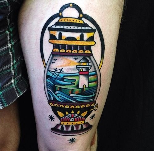 tattoo old school / traditional nautic ink - lighthouse by Sam Ricketts