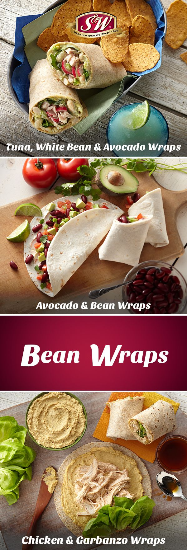 Make any of these three bean-tastic wraps in under 30 minutes and add an extra punch to your lunch!  | S&W Beans | White Beans | Cannellini Beans | Garbanzo Beans | Kidney Beans | Tuna, White Bean and Avocado Wraps | Avocado and Bean Wraps | Chicken and Garbanzo Wraps | easy lunch recipes | snacks | meal prep |