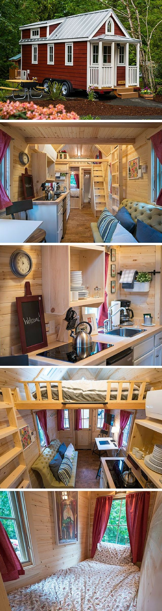 Scarlett the tiny house. A 233 sq ft home on wheels you can rent in the Mt. Hood Village Resort in Oregon.
