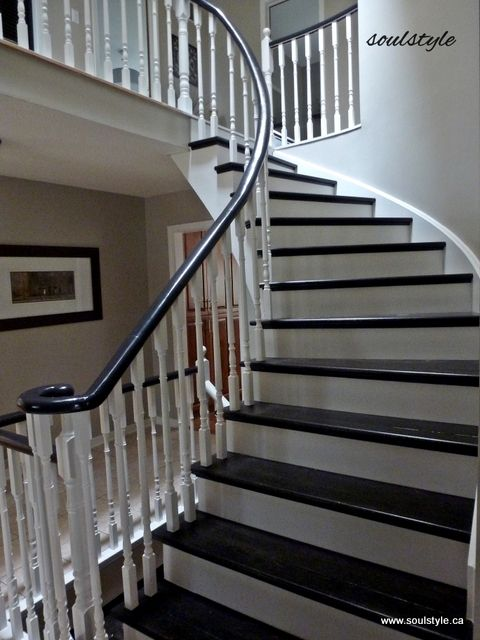 Paint The Banister And Stair Treads Black.
