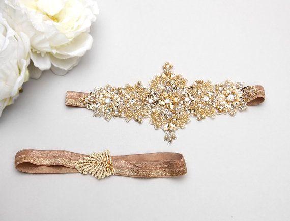 Gold lace wedding garter set, Bridal garter, crystal garter, gold garter - style 467