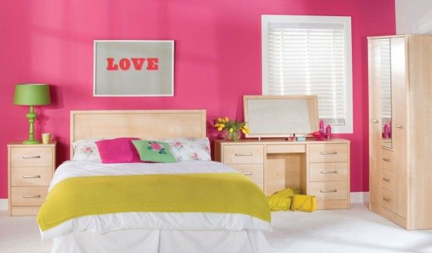 Cute Pink Girl Bedroom With Wooden Furnitures On White Ceramic Floor Tile Design