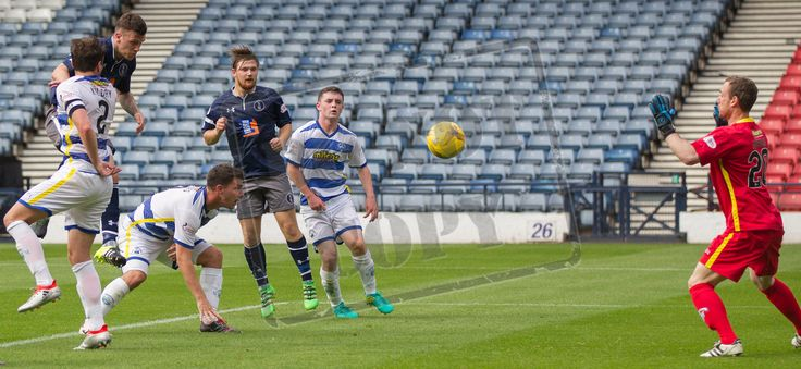 Queen's Park's Adam Cummins heads for goal during the IRN-BRU Cup game between Queen's Park and Morton