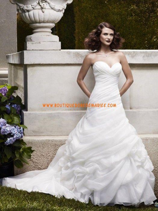 Robe de mariée bustier satin organza ivoire
