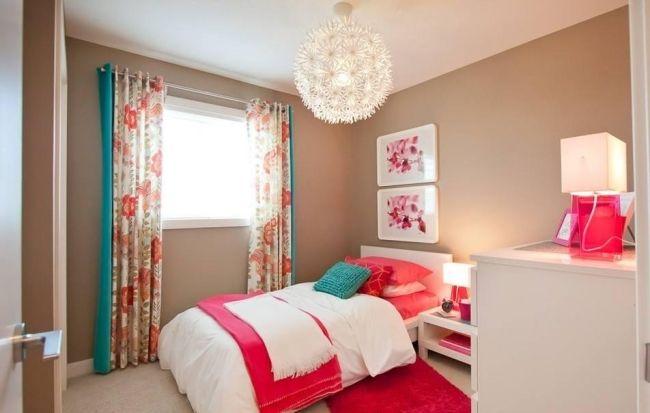 ideen jugendzimmer mädchen gestalten beige wandfarbe koralle | diy ... - Kinderzimmer Farben Ideen Mdchen