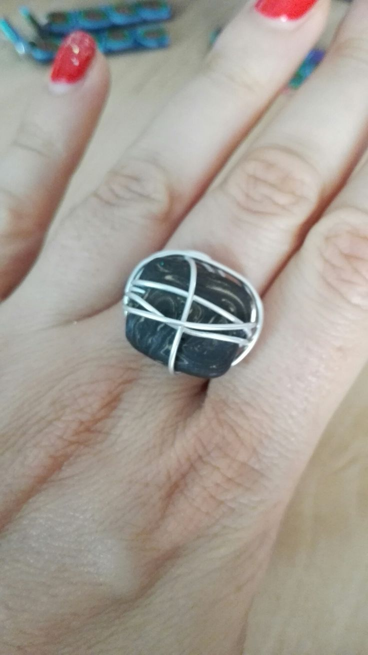 Polymer clay ring with wire
