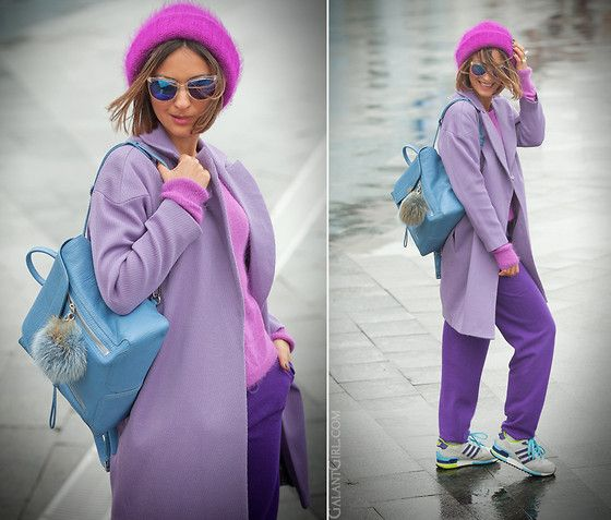 LiLac and PuRPLE -- CASHMERE TRACK PANTS - PANICALE // ANDORA WOOL JUMPER - TULIP // COAT - I'LL BE BACK // ANGORA WOOL BEANIE - HANDMADE // SUNGLASSES - VANS // SNEAKERS- ADIDAS ZX 750 // 3.1 PHILLIP LIM Pashil BACKPACK // FUR KEY  - NO NAME