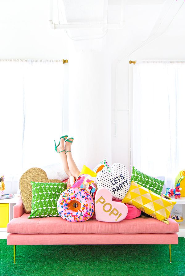 Studio DIY Tour // Lulu & Georgia Yellow Pillow! #landgathome