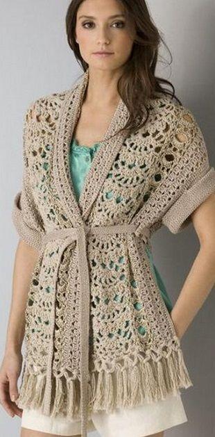 Узоры для жакета крючком (Crochet Jacket pattern) Had to use the Google: Russian to English translator, for this one. :-)