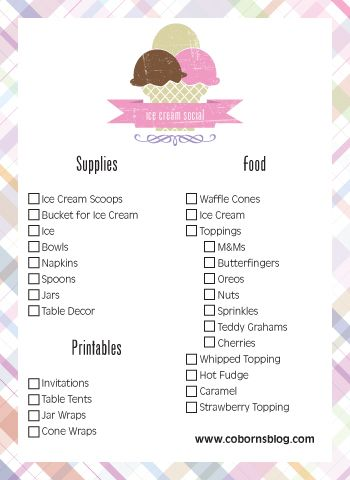 Check out www.cobornsblog.com for Free Printables, Checklist and How-To create an Ice Cream Social!