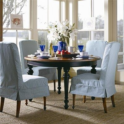 French TickingDecor Ideas, Dining Chairs, Willow Decor, Coastal Living, Slipcovers Chairs, French Tick, Chairs Covers, Dining Room Chairs, Dining Tables