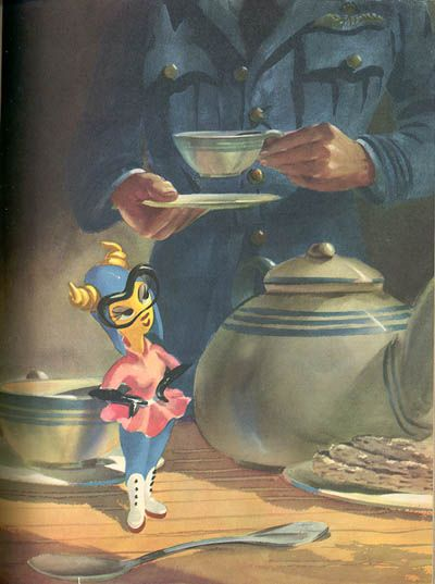 "Disney concept art for Fifinella, a WW2 wasp character (based on the Roald Dahl story, ""The Gremlins"")"