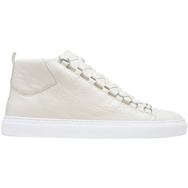 Balenciaga High Sneakers ($645) ❤ liked on Polyvore featuring men's fashion, men's shoes, men's sneakers, man shoes arena sneakers, white, balenciaga mens sneakers, mens white sneakers, mens white shoes and balenciaga mens shoes