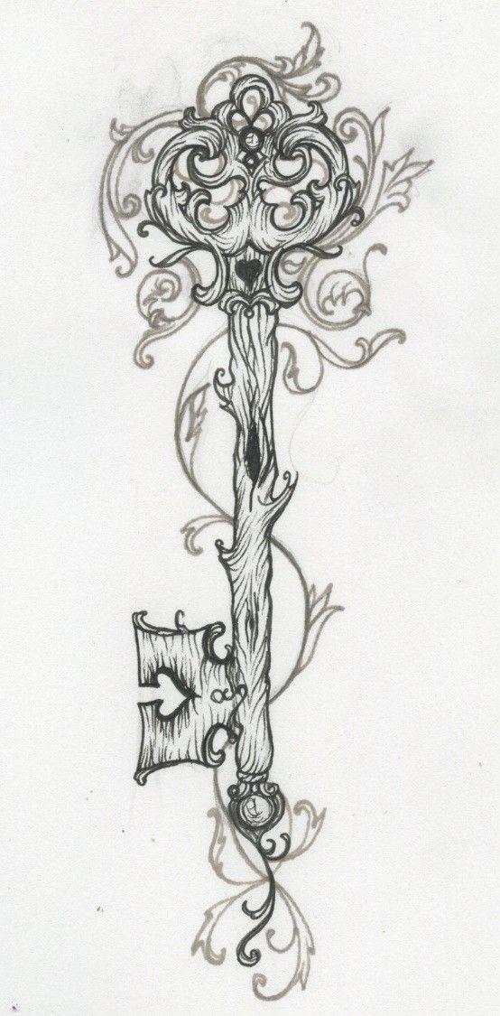 Dessin tatouage clé arbre Plus