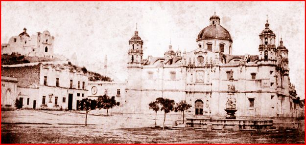An early photograph of the former Basilica of Our Lady of Guadalupe, with the 'Church of the Fifth Apparition' in the background