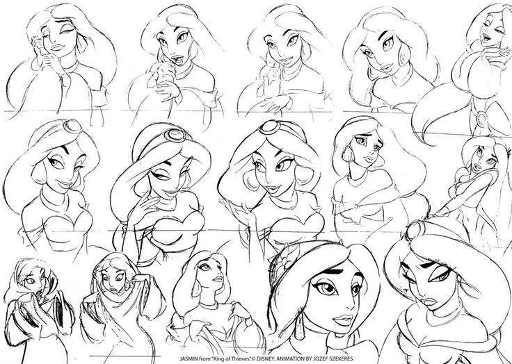 Disney Aladdin Character Design : Aladdin sketchy jasmine disney concept art