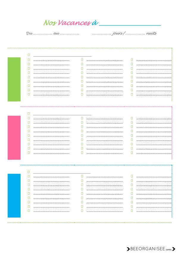 checklist des vacances