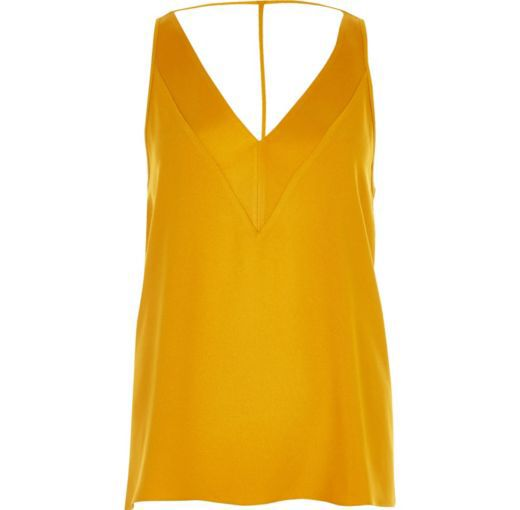 Checkout this Yellow T-bar cami top from River Island