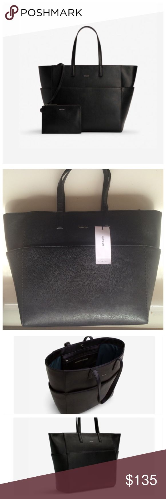 Vegan Matt and Nat Tamara black bag 🎉 HP 10/7 🎉 Brand New Vegan Matt and Nat Tamara black bag / handbag. With the tag, store price 160$   All about bag: Tamara Handbag Black  Oversized tote with magnetic snap closure. Multiple exterior pockets. Detachable zippered pouch connected by strap. Fits 15″ laptop. 100% recycled nylon lining.   #vegan #veganbag #veganhandbag #mattandnat #mattandnattamara #tamarablack #veganmattandnat #tamarablack #mattandnattamarablack #handbag #bag…