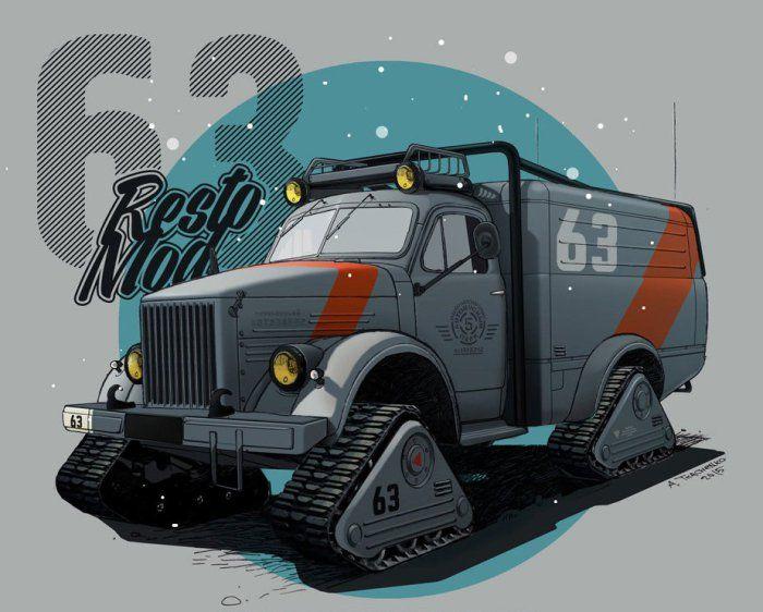Внедорожный гусеничный грузовик ГАЗ-63.