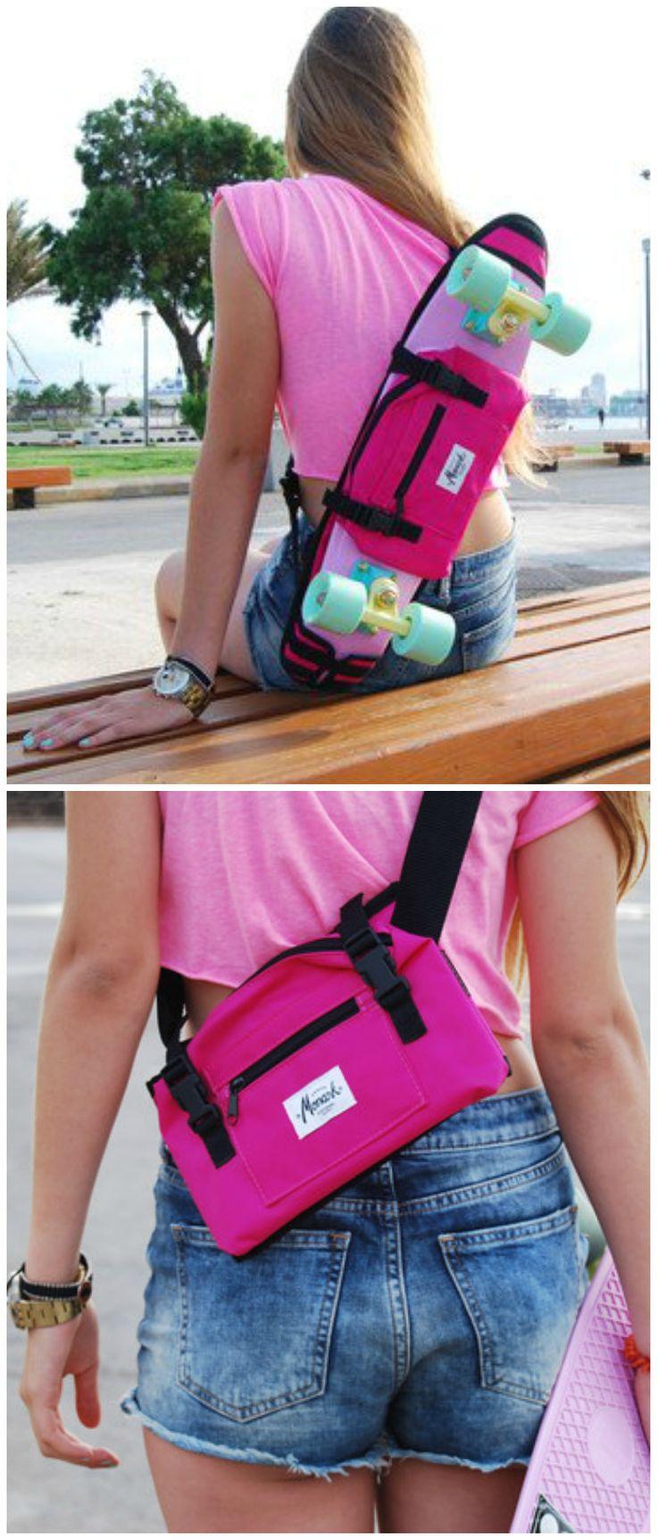 Praktische Skate-Accessoires: Tasche für das Skateboard. Das Board einfach bequem über der Schulter tragen. Geschenke kaufen von Monark Supply via DaWanda.com