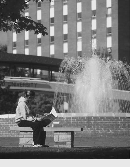 """Black and white shot of the fountain? Yes, please."" ~ via Ashland University"