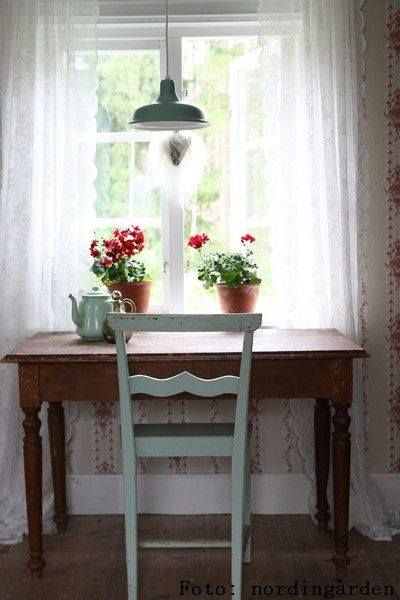.writing desk near window, plus flowers :)