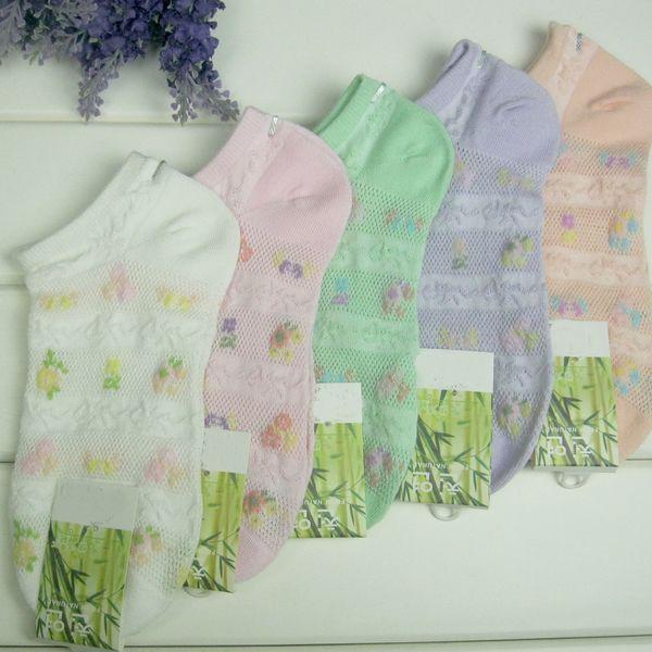 Bamboo Fiber Women Ankle Sock, antibacterial & deodorant & sweat absorption & non-slip & thermal, floral