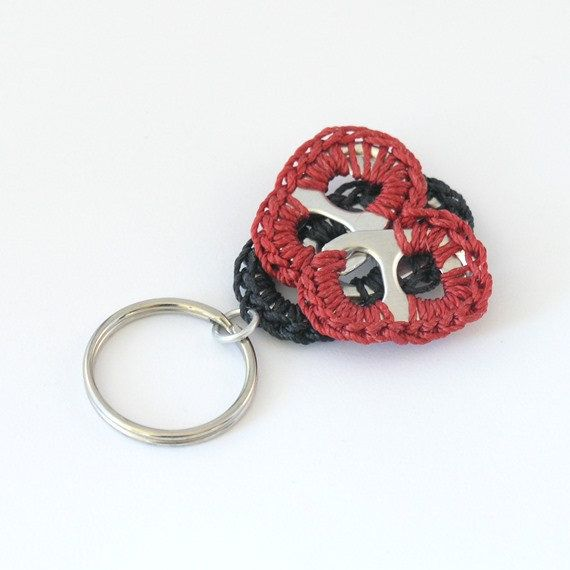 pop tab lady bug keychain crochet lady bug keyring by tabsolute
