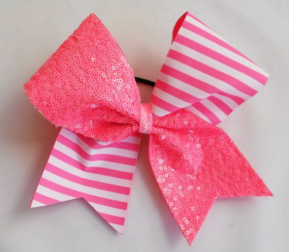 Pink October Cheer Hair Bow Perfect for Practices, Game Day, Cheer Competitions, & Assemblies    Available in 3 wide, 2.25 wide, and 1.5 wide