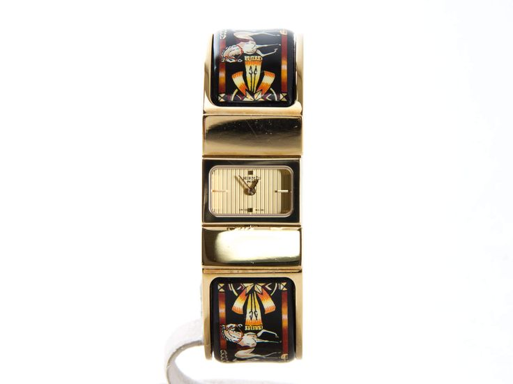 Authentic Hermes Loquet Enamel bangle watch horse 18k Gold