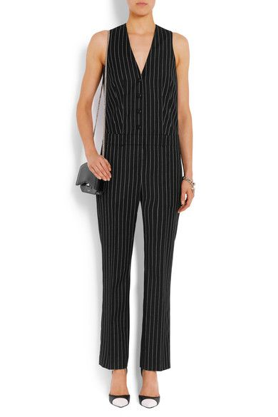 Givenchy - Straight-leg Jumpsuit In Black And White Striped Wool-jacquard - FR34