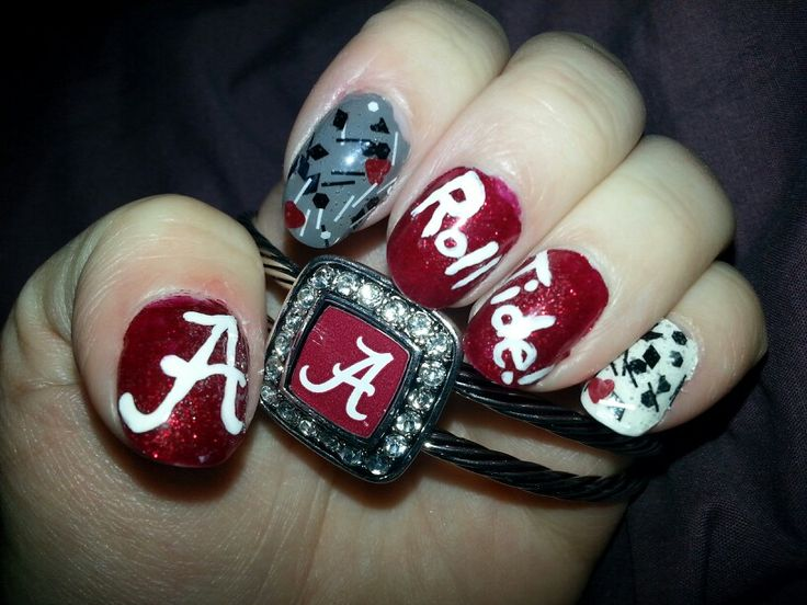 My Crimson Tide Pride nails and matching bracelet! - 30 Best Bama Nails Images On Pinterest Alabama Nails, Roll Tide