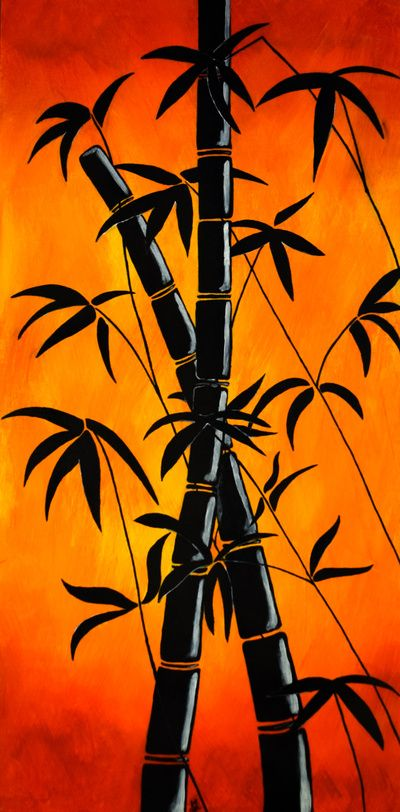 """""""Red Bamboo Silhouette 3 of 3"""" Art Print by Nicola on Society6."""
