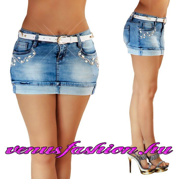 Trendi sexy farmer mini szoknya övvel XS S M L XL - Venus fashion női ruha webáruház