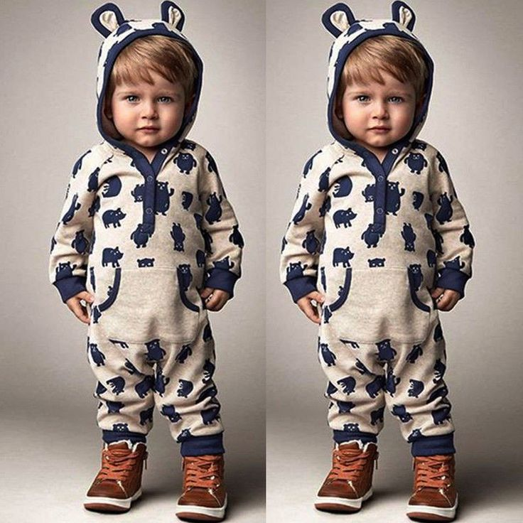 Baby Boys Girls Cartoon Giraffe Print Hooded Romper Warm Thick Onesies Jumpsuit 9pfwESTi